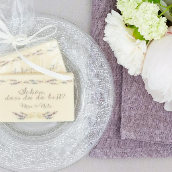 25g Tafelschokolade weiße Kuvertüre schön dass du da bist individualisierbar