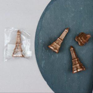 Schokoladenfigur Eiffelturm Paris Milchkuvertüre Bronze Glitzer