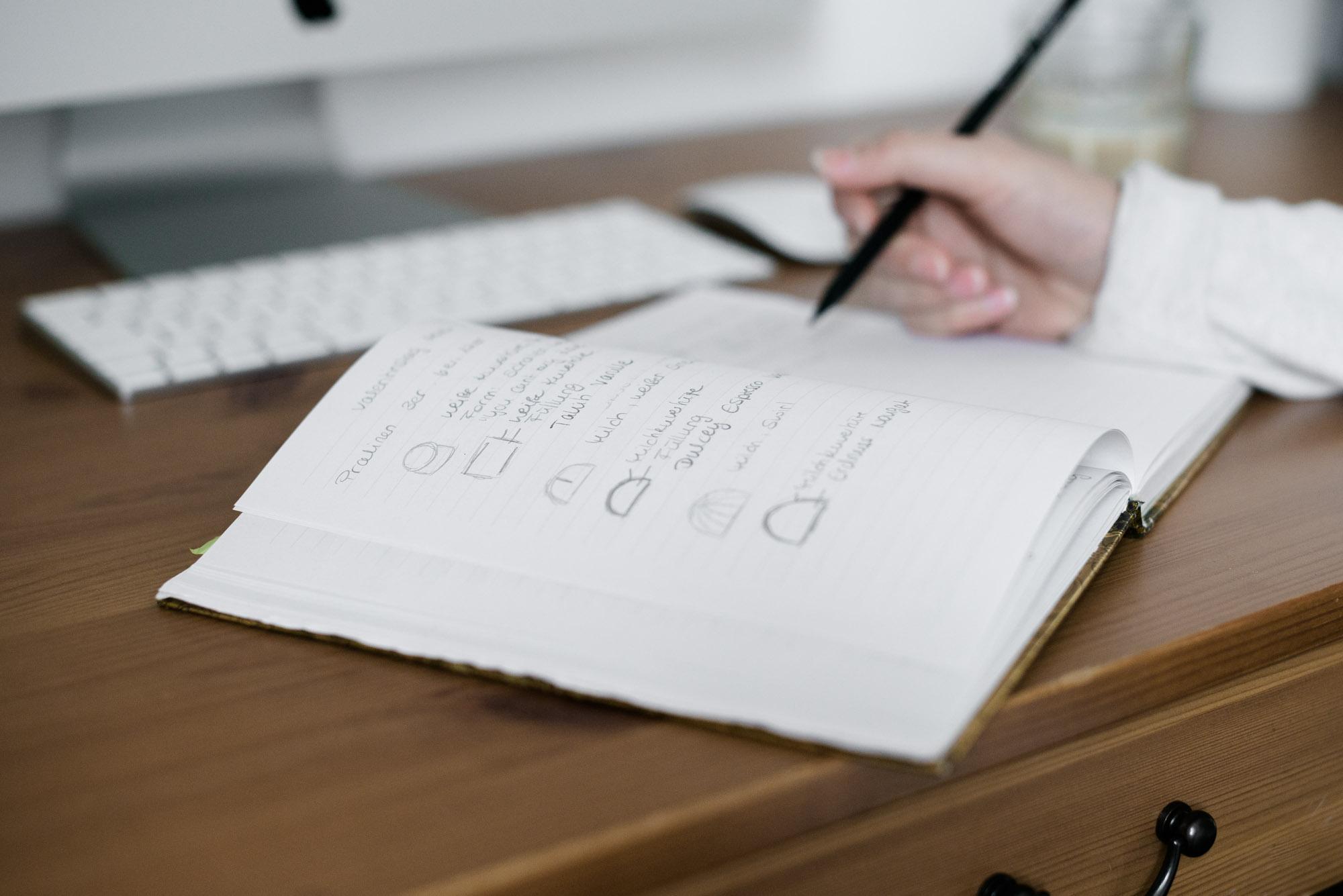 Skizze Notizbuch Organisation Produktentwicklung