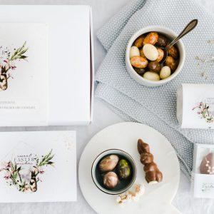Schokoladenbox zu Ostern mit persönlicher Grußkarte