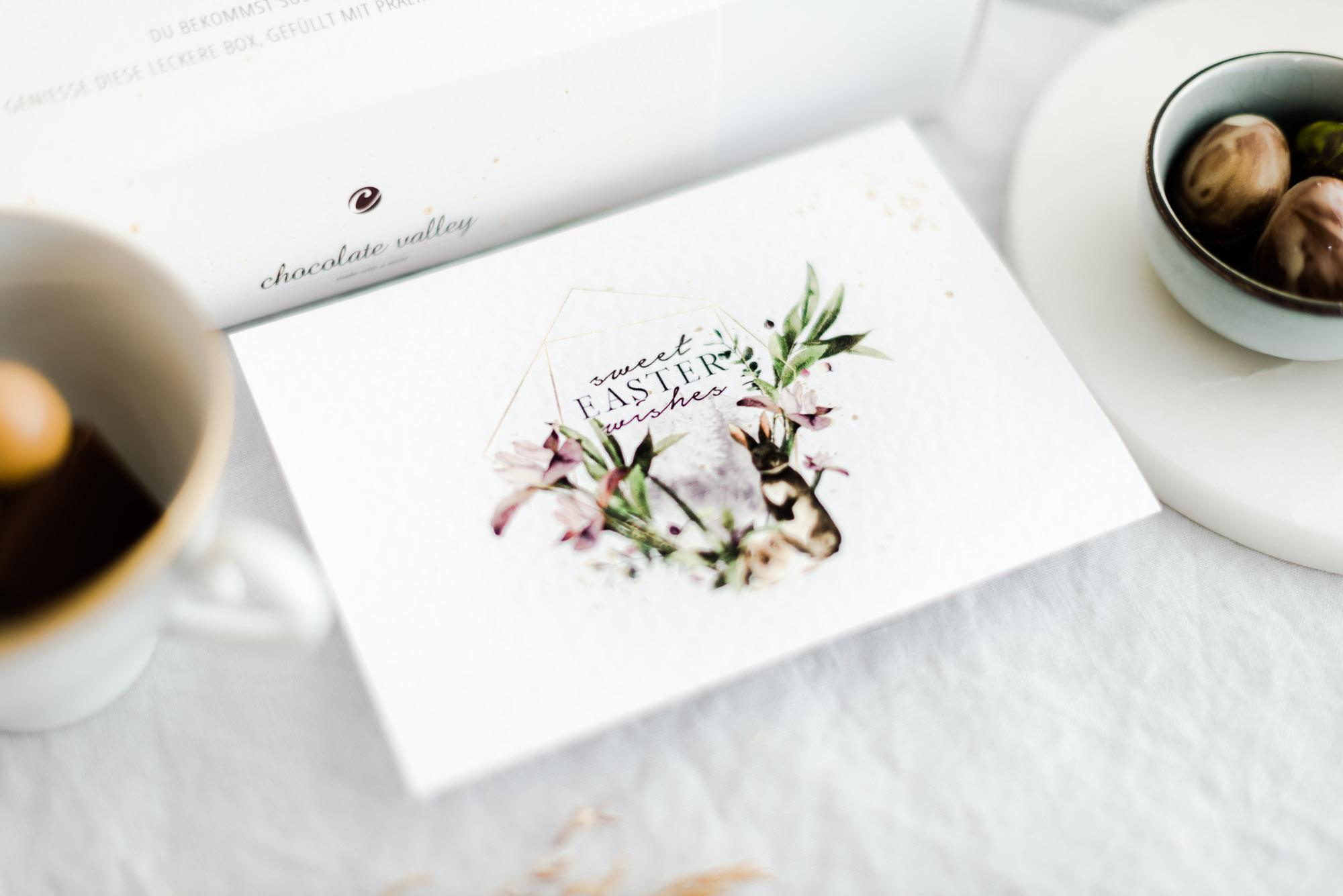 Handgeschriebene Grußkarte zu Ostern mit persönlicher Nachricht